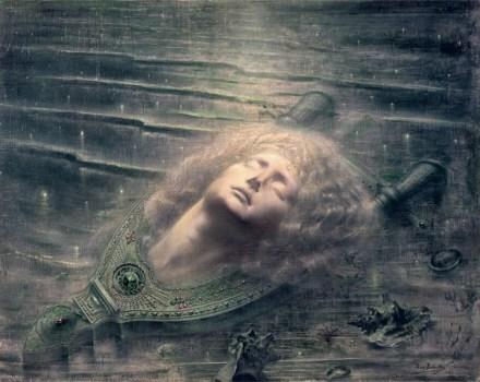 Jean Delville, Orfeo morto, 1893, olio su tela, 79.3x99.2 cm, Bruxelles, Musees Royaux des Beaux-Arts de Belgique, inv. 12209 © Royal Museums of Fine Arts of Belgium, Brussels / foto J. Geleyns © Jean Delville by SIAE 2016