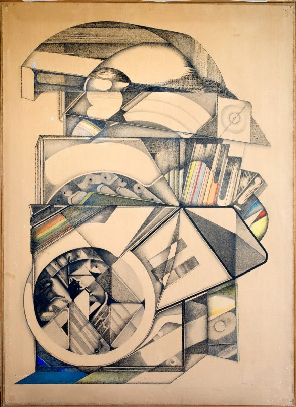 Paolo Gioli, The Big Lens, 1968, charcoal and pastel on paper