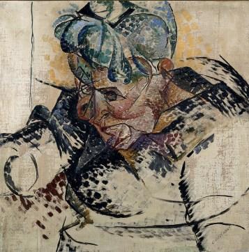 Umberto Boccioni, Studio di testa (La madre; Dimensioni astratte), 1912, olio e tempera su tela, 60×60 cm, Milano, Museo del Novecento