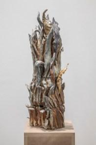 Francesco Simeti, The Wilds XIV, 2016, anagama kiln ceramic, bronze element, glazed leaves, patina, 67x25x25 cm