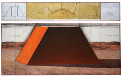 Christo, The Mastaba (Project for Abu Dhabi, United Arab Emirates), 2012, drawing in two parts: 38 x 224 cm and 106.6 x 244 cm, pencil, charcoal, wax crayon, pastel, map, hand-drawn technical data, enamel paint and tape Ref #9-2012 Photo: André Grossmann Copyright: Christo 2012