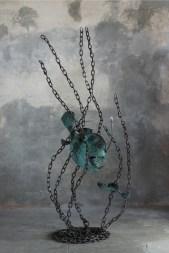 Mario Branca, Abissal fish, rame ossidato verde, acciaio e cristallo, 200x80x55 cm