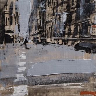 Daniele Cestari, Lontano, 2016, olio, acrilici e chine su tela, 15x15 cm