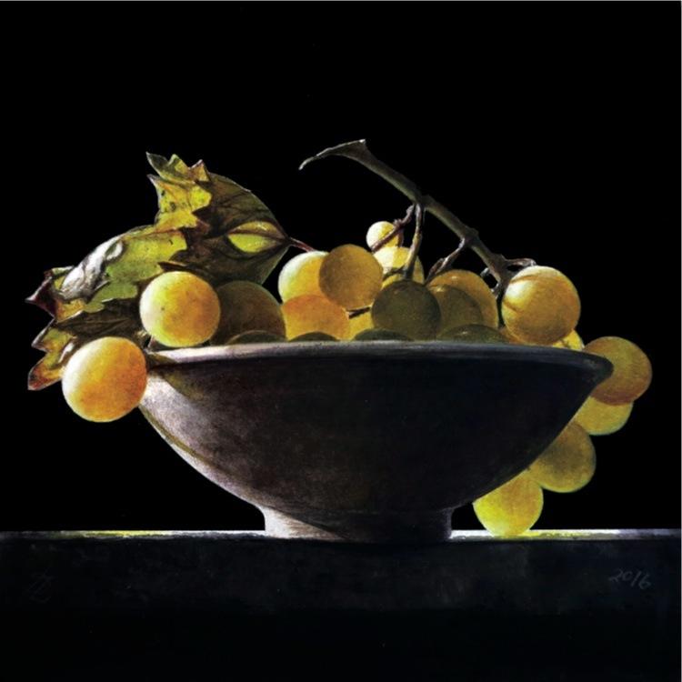 Ottorino De Lucchi, Tempo di Vendemmia, 2016, watercolor drybrush su tavola, 20x20 cm