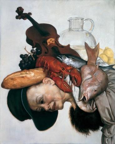 John Currin, The Lobster, 2001, olio su tela, 101.6x81.3 cm, Dianne Wallace, New York © John Currin Courtesy Gagosian Gallery