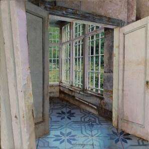 Matteo Massagrande, La stanza d'angolo, 2016, tecnica mista su tavola, 20x20 cm