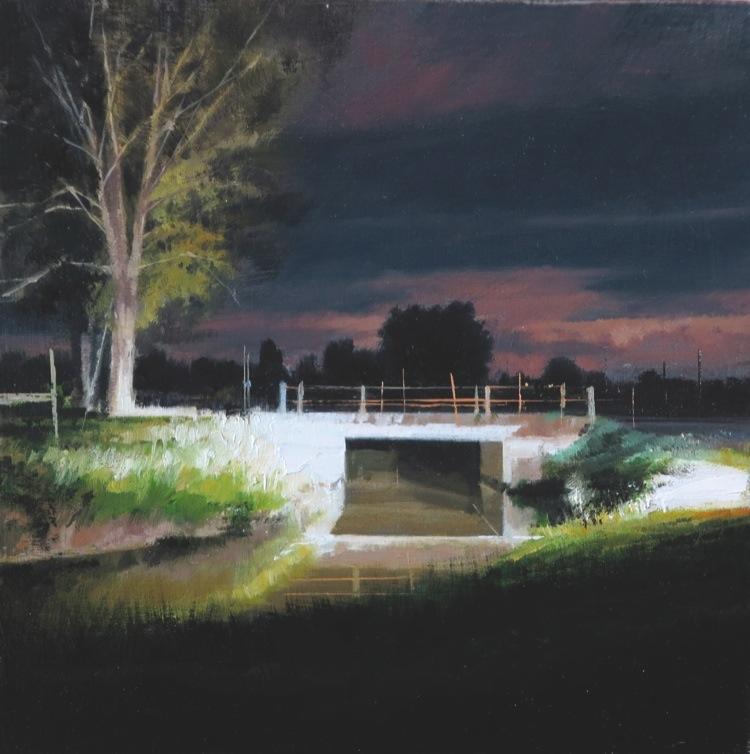 Nicola Nannini, Fari nella notte, 2016, olio su tela, 15x15 cm