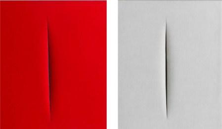 LUCIO FONTANA Concetto spaziale, Attesa – 1965 idropittura su tela, rosso, cm 66x53 Concetto spaziale, Attesa – 1964 idropittura su tela, bianco, cm 65x54. Courtesy TornabuoniArte