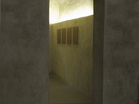 Gianni Moretti, secondo esercizio di approssimazione al grande amore, 2014, impressione a secco su carta velina, quattro elementi, 50x35 cm ciascuno