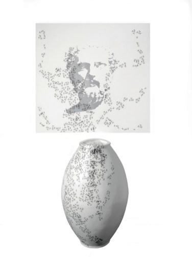 Emilio Isgrò, La giara di Gorgia, 2015, installazione per due elementi, tecnica mista, dimensione ambientale, Archivio Emilio Isgrò