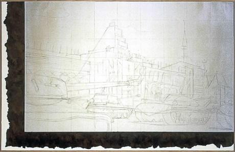Ilya Kabakov, Parade on Red Square, 1972-2002, grafite e olio su tela, 160x250 cm Courtesy Sprovieri, London Photo Ilya and Emilia Kabakov Studio, Long Island
