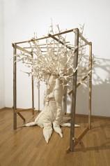 Elizabeth Aro, Ulivo, 2016, legno e broccato di cotone, dimensioni variabili. Foto: Studio Vandrasch