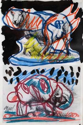 Appel Karel, Composizione Cobra su serigrafia di Henry Moore, tecnica mista, cm. 28x41