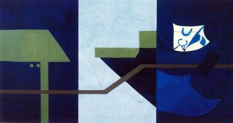Galleria 2000&Novecento - Enrico Della Torre, Universo fluviale, 1989, olio su tela (tre telai assemblati), cm. 116x220