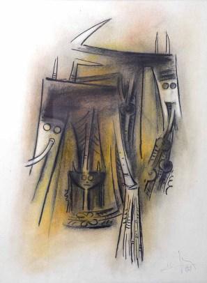 Lam Wifred, Totem 1969, Pastelli su carta, cm.75x55