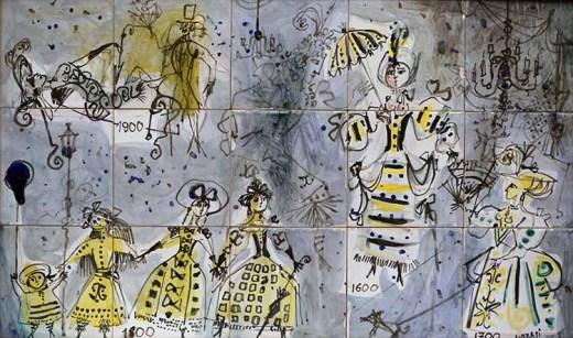 Luzzati Emanuele, composizione teatrale, ceramica, cm 76x46