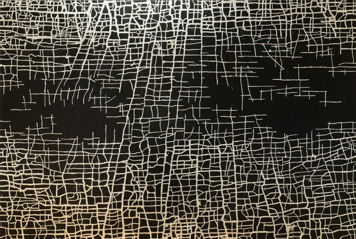 Massimiliano Galliani, Le Strade Del Tempo #8, 2015, acrilico e acciaio in foglia su tela, cm 140x210