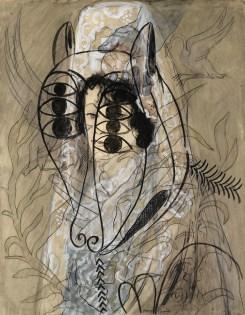 Francis Picabia, Ohne Titel (Espagnole et agneau de l'apocalypse), um 1927-1928, Aquarell, Gouache, Tinte und Bleistift auf Papier, 65x50 cm, Privatsammlung © 2016 ProLitteris, Zürich