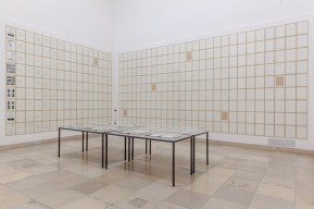 """Hanne Darboven, M Opus 26 Quartet, Rutherford / Niels Bohr, Models 1 to 99, 1988/1989, 1992, 22 Volumes (9817 sheets), 517 Working sheets, Index, handwritten music notes and transcription Model 1 - Model 9, Short story M1,1 - M9.99 (c. 6000 Sheets). Volumes and working sheets 16 1/2 x 11 3/4 inches each Index and short stories, 11 3/4 x 8 1/4 inches each, Installation view, """"Enlightenment"""", Haus der Kunst, Munich, 2015-16 © Hanne Darboven Stiftung, Hamburg / VG Bild Kunst, Bonn 2016 Photo Maximilian Greuter Courtesy Sprüth Magers"""