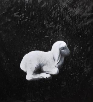Omar Galliani, Agnus Dei,2016,olio su tela,cm.230x210