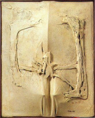Lucio Del Pezzo, Senza titolo, 1962, tecnica mista su tela, 63x55x10 cm