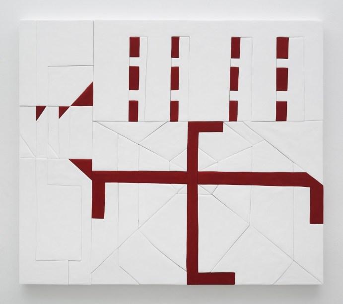 Sadie Benning, Swaz, 2016, medite, resina all'acqua, caseina, acrilico, 139,7 x 160,2 cm, Courtesy the artist and kaufmann repetto, Milano / New York, © the artist