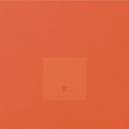 Antonio Calderara, Attrazione quadrata in quadrato. Lealtà per Josef Albers, 1966-67, olio su tavola, 54x54 cm, Sammlung Fer, Ulm Foto Armin Buhl, Neu-Ulm