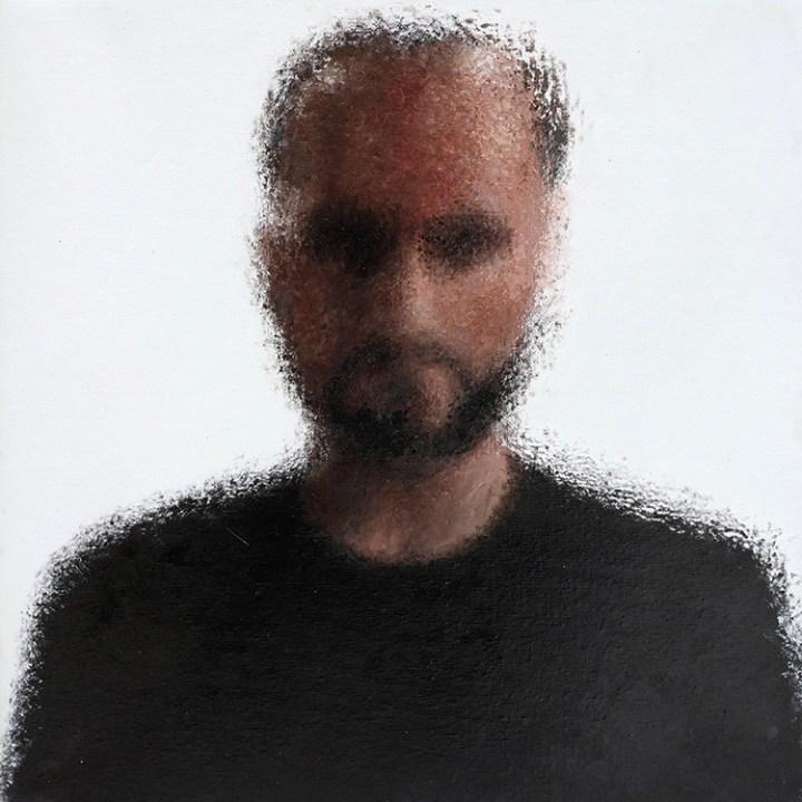 Massimiliano Galliani, Autoritratto (riflesso su tela), 2016, acrilico su tela, cm 50x50