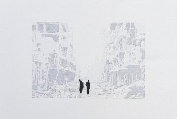 Giorgio Tentolini, Iconoclaste, 2016-17, carta pergamena bianca intagliata e sovrapposta a fondale nero, 45x30 circa con cornice [riferimento: fotogrammi dei video ripresi durante la distruzione del Muse di Mosul ad opera dei seguaci dell'ISIS e immagini da Google di un bombardamento ad Aleppo]