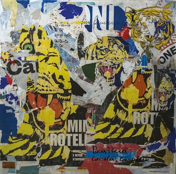 Italiancode, Ta-Ta_Ta-Ti-Ta-Tiger, 2016, tecnica mista su tela, 100x100 cm