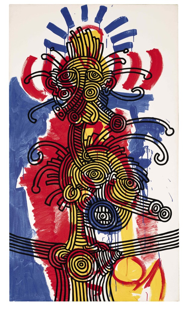 Keith Haring, Red, Yellow, and Blue, 1987, acrilico su tela, 213 x 121,9 cm, Collezione privata © Keith Haring Foundation