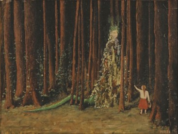 Meret Oppenheim, Die Waldfrau, 1939, olio su pavatex, 28x37.5 cm, Collezione privata