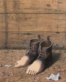 René Magritte, Le modèle rouge, 1947, gouache su carta, 48x37x10 cm, Collezione privata