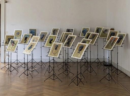 Albano Morandi. Immagini rubate a memoria, veduta della mostra (Les chants de la mi mort - con Savinio), Galleria Milano, Milano