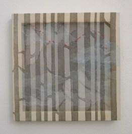 Kaori Miyayama, Il cielo in fondo #7, 2017, xilografia, filo, seta organza su struttura in legno, 45.5x45.5 cm Courtesy Paraventi Giapponesi - Galleria Nobili, Milano