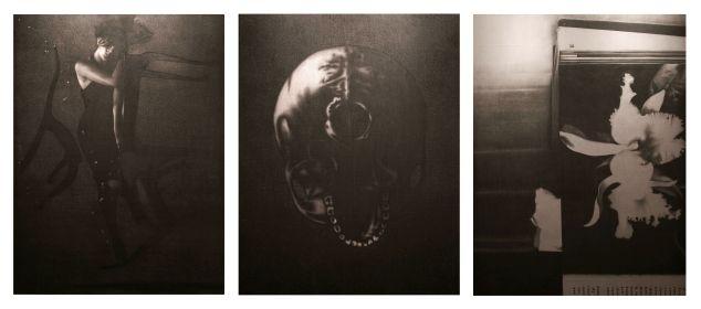 Omar Galliani, Breve storia del tempo, 1999, matita su tavola di pioppo, trittico, cm 300x600. Foto: Luca Trascinelli