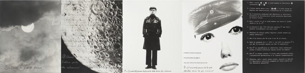 Vincenzo Agnetti, Identikit, 1973, fotografia e scrittura a china, pannello con cinque fotografie, 60x50 ciascuna Courtesy Osart Gallery, Milano Foto di Bruno Bani