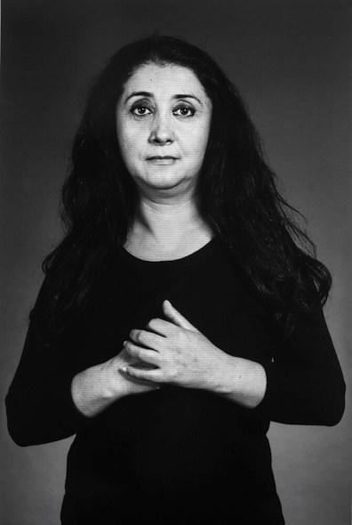 "Shirin Neshat, ""Ilgara"", from ""The Home of My Eyes"" series, 2015, silver gelatin print and ink, 152.4x101.6 cm Courtesy Written Art Foundation, Frankfurt am Main, Germany"