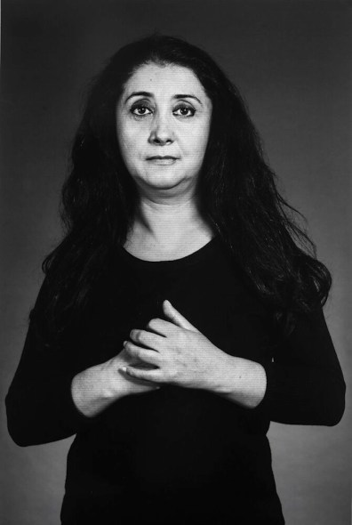 "Shirin Neshat, ""Ilgara"", from ""The Home of My Eyes"" series, 2015, silver gelatin print and ink, 152.4x101.6 cm Courtesy Written Art Foundation, Frankfurt am Main, Germany"