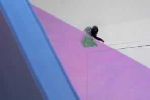 Matteo Negri, Piano Piano Morris, 2017, ferro zincato, cromo liquido, vetro temperato e pellicola, 152x134x101 cm (dettaglio) Courtesy Lorenzelli Arte