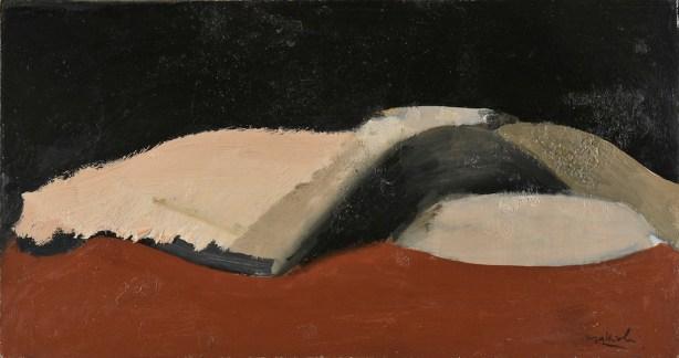 Carlo Mattioli, Nudo coricato, 1970, olio su tavola, 28x52.5 cm, Collezione privata Crediti Archivio Mattioli