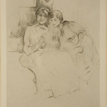 Berthe Morisot, Berthe Morisot dessinant avec sa fille, 1889, puntasecca, 19x14 cm