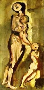 Trento Longaretti, Tragedia di una madre (Vietnam), 1965, olio su tela, 100x50 cm