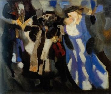 Trento Longaretti, Mendicante violinista e famiglia, 1988, olio su tela, 50x60 cm