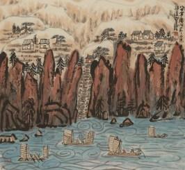 Fang Zhaolin, Salendo in alto al festival del battello del drago, 1987, inchiostro e colore su carta di riso, 86x93 cm