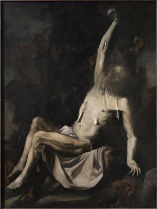 Nicola Samorì, Il punto acerbo, 2015, olio su tavola, 200x150 cm Foto Rolando Paolo Guerzoni Courtesy l'artista e Monitor, Roma