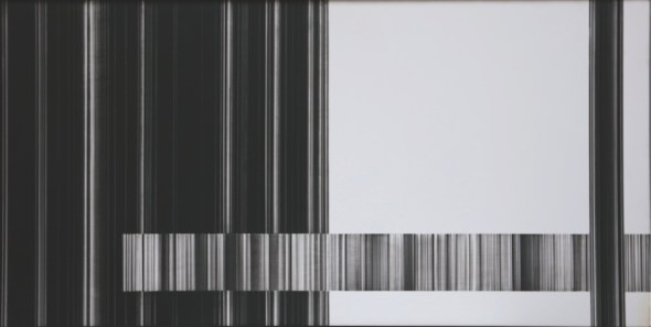 Luc Peire, Graphie 1138, 1973, pittura e formica, 41x81 cm Courtesy Lorenzelli Arte, Milano
