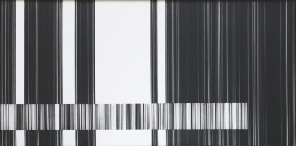 Luc Peire, Graphie 1139, 1973, pittura e formica, 41x81 cm Courtesy Lorenzelli Arte, Milano