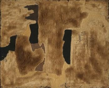 Alberto Burri, Sabbia, 1952, sabbia e acrilico, 90x108.5 cm, Collezioni Intesa Sanpaolo © Archivio Attività Culturali, Intesa Sanpaolo Foto Paolo Vandrasch