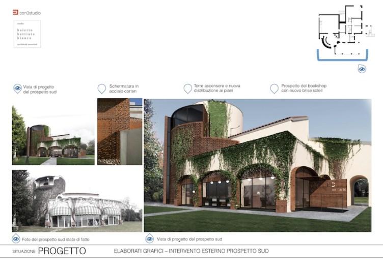 Progetto del prospetto sud della villa di Federico Cerruti, Rivoli-Torino, Con3studio